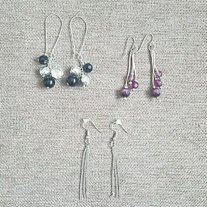 Set of Three Beaded and Chain Earrings